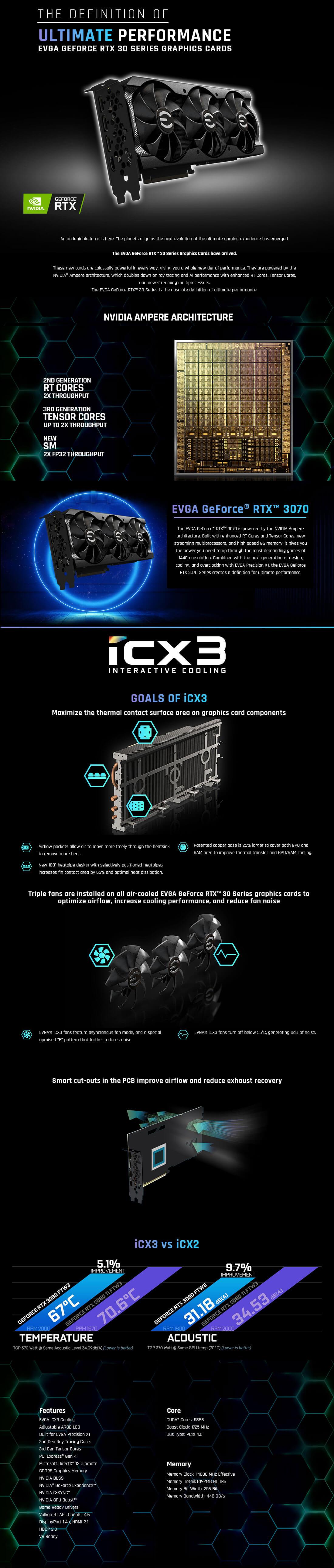 EVGA GeForce RTX™ 3070 XC3 BLACK GAMING - 8GB GDDR6 (Sao chép)